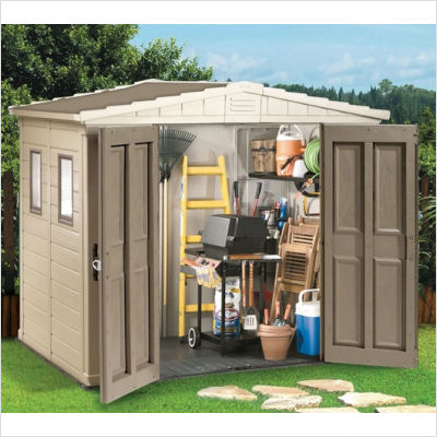 Keter apex 8 39 x 6 39 shed in brown beige storage shed for Caseta de pvc para jardin